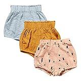 MYGBCPJS Baby Girls Boys 3 Pack Cotton Linen Blend Cute Bloomer Shorts Loose Harem Shorts
