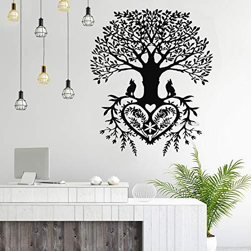 Árbol de la vida Etiqueta de la pared Anillo Tribal de la vida Etiqueta de la raíz Rama Calcomanía de pájaro Sala de estar Yoga Estudio Etiqueta de fondo A5 56X67CM