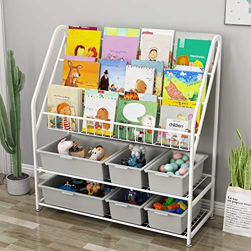 Children Kids Bookshelf Bookcase Book and Toy Storage Organizer Display Stands Shelf