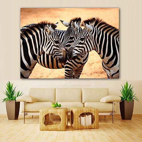 GJQFJBS Poster Drucken Tier Bild Leinwand Malerei Print Art Zebra Wand Wohnzimmer Bild Dekoration Poster A1 60x80 cm