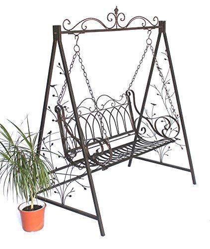 DanDiBo Hollywoodschaukel Metall 2 Sitzer Antik Vintage 18688 Schmiedeeisen Gartenschaukel Garten
