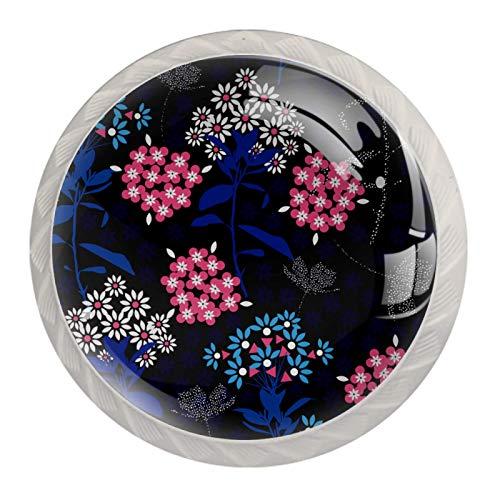 Mango de un solo agujero: mango de anillo redondo moderno, simple, armarios, mesitas de noche con tornillos, flores florales