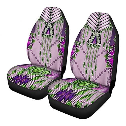 Traje étnico geométrico abstracto, diseño tribal azteca, color rosa y verde, con 2 fundas para asiento de coche, resistente a las manchas y duradero