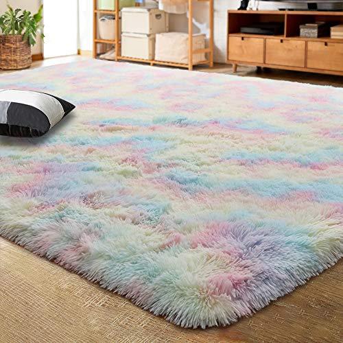 LOCHAS Luxury Velvet Shag Area Rug Mordern Indoor Plush Fluffy Rugs, Extra Soft and Comfy Carpet, Cute Rainbow Rugs for Bedroom Living Room Girls Kids Nursery Classroom, 4x6 Feet