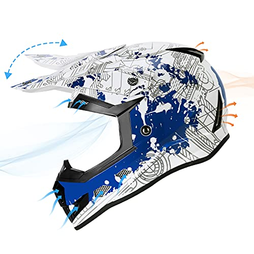 Product Image 6: GLX Unisex-Child GX623 DOT Kids Youth ATV Off-Road Dirt Bike Motocross Helmet Gear Combo Gloves Goggles