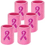 WILLBOND 6 Pieces Breast Cancer Awareness Wristbands Pink Ribbon Sweatbands Sports Wrist Sweatbands for Football Basketball Running Athletic (Pink)