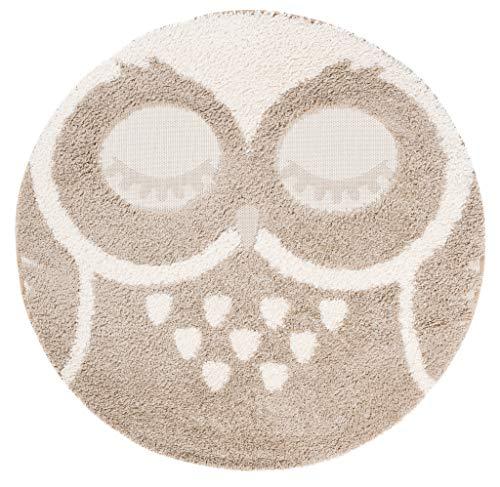 Tapiso Animal Teppich Kinderteppich Kurzflor Rund Spielmatte Creme Beige Eule Konturenschnitt Kinderzimmer 3D Optik ÖKOTEX 120 x 120 cm