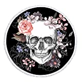 Pterygoid Collection 59' Skull Thick Round Microfiber Beach Towel Skeleton Flower Circle Beach...