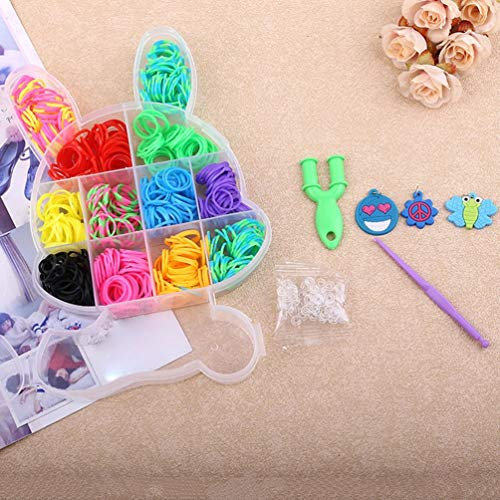 SWEEPID Conejo en caja de telar banda DIY pulsera máquina de tejer banda de goma elástica colorida kit de manualidades para niños, multicolor