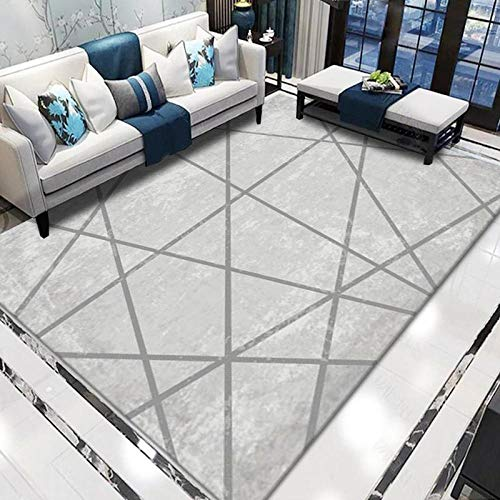 Non-slip Floor Carpet Childrens Rugs Gray line geometry Apply to Living Room Bedroom & Home Decoration 150*200CM (4'9''x6'6'')