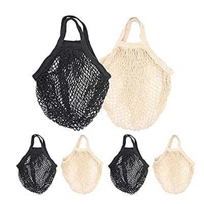STONCEL Cotton Net Shopping Tote, Reusable Grocery Mesh Produce Bag, Washable Market Beach Toy String Rope Storage Bags (3black3white)