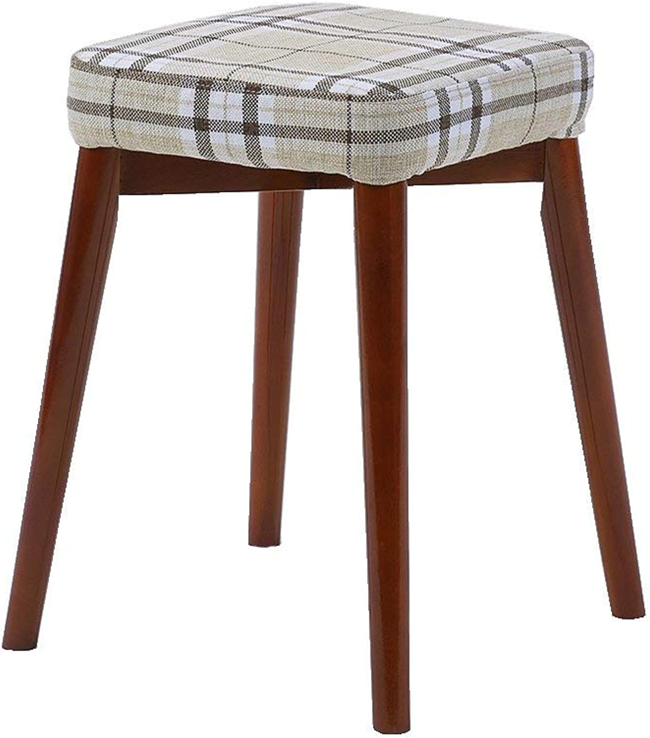 Ronggoutrade Solid Wood Stool, Home Bench Dressing Stool Fashion Creative Square Stool Dining Stool Fabric Stool Stool - Small Stool (color   B)