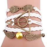 Susenstone Handmade Love Owl wings Multilayer Knit Leather Rope Chain Bracelet (Color H)