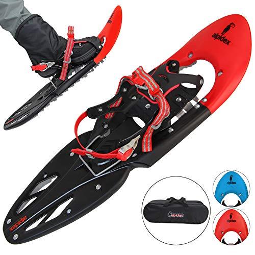 ALPIDEX Schneeschuhe 29 INCH Schuhgröße 38-46 bis 140 kg Steighilfe Tragetasche Optional Stöcke, Farbe:Red ohne Stöcke