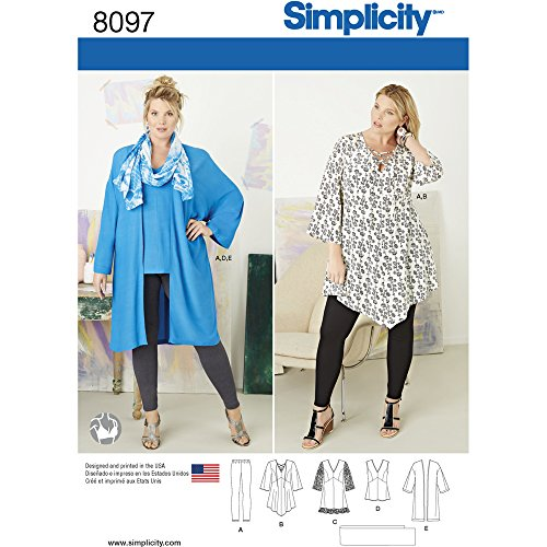 Simplicity 8097 Women's Plus Size Tunic, Top, Leggings, and Kimono Sewing Pattern, Sizes 18W-24W