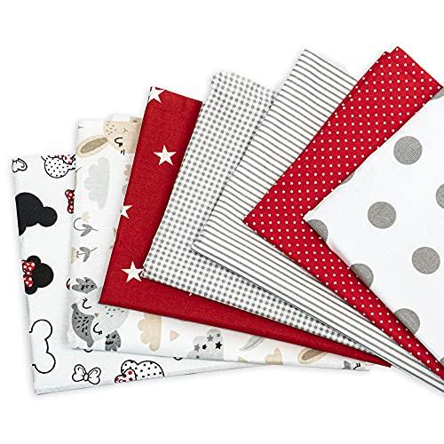 Baumwollstoff meterware Stoffpaket 7 Stück je 50 x 80 cm - Stoffe zum Nähen patchwork stoff paket Stoffreste nähstoffe Baumwolle Öko-Tex Standard 100 (Mehrfarbig 2, 7 Stück 50 x 80 cm)