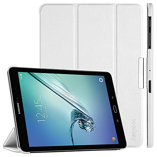 EasyAcc Hülle für Samsung Galaxy Tab S2 9.7, Smart Cover mit Standfunktion Auto Wake Up Sleep PU Leder Hüllen Kompatibel für Samsung Galaxy Tab S2 9.7 Zoll (T810/ T813/ T815/ T819), Weiß