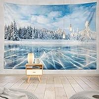 JOOCAR 飾りをかける 湖面の青い氷は湖の冬山の雪山を凍らせます。 快適なインテリア、アイデアのタペストリー