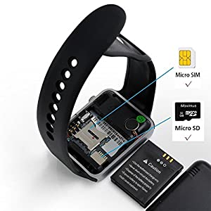 Smart Watch - Aeifond Bluetooth Smartwatch Touchscreen Smart Wrist Watch Fitness Tracker with Camera Step Sleep Monitor SIM SD Slot Compatible iPhone iOS Samsung Android for Women Kids Men (Black)