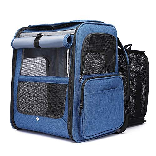 Zainetto per cane estensibile traspirante, pieghevole, per animali da compagnia, con materasso in peluche rimovibile, per campeggio, escursionismo, viaggio in treno, auto, aereo