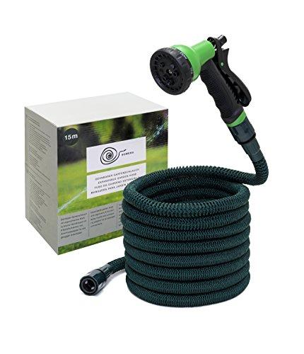 Somera Manguera de jardín extensible con boquilla de agua y conector para tomas de agua I Manguera flexible para riego
