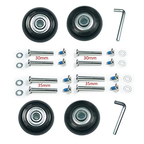 F-ber Koffer-Rollen mit ABEC 608zz Kugellager, Inline-Skate-Ersatzrollen mit Mehreren Größen, EIN Satz von (2) oder (4) Rollen, Schwarz, 4 Sets / 60 mm x 18 mm.