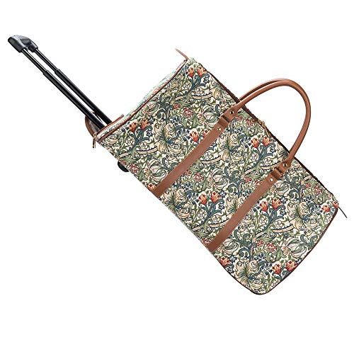 Signare Tapestry Travel Bag Overnight Bags Weekend Bag with Wheel for Women with William Morris Design (Golden Lily, Pull-GLILY)