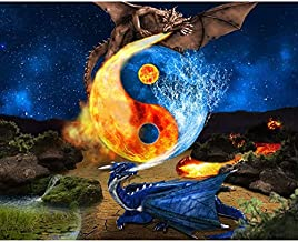 Dimond Paintings for Adults,Diamond Embroidery Yin Yang Taiji Dragon 5D DIY Diamond Painting Full Round Mosaic Pictures of...
