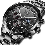 Men Watches Military Black Steel Wristwatch Casual Sport Waterproof Chronograph Analog Quartz Watch Men Fashion Dress Business Date Clock Luxury Men Watch Silver