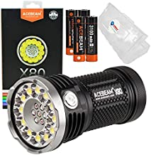 Acebeam X80 Tactical Flashlight Rechargeable 25000 Lumen LED Light Bundle Includes four 3100mah Batteries and Lightjunction Battery Box