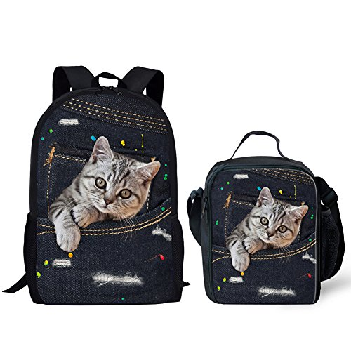UNICEU Lazy Cat School Bags for Girls Best School Backpack Denim Printing and Lunch Bags for Kids