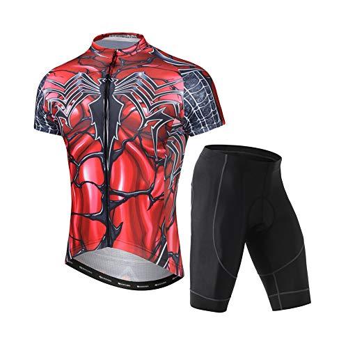 Set di abbigliamento estivo da uomo a maniche corte, per mountain bike, con cerniera automatica e pantaloncini da bici con imbottitura in gel 3D, ragno XL