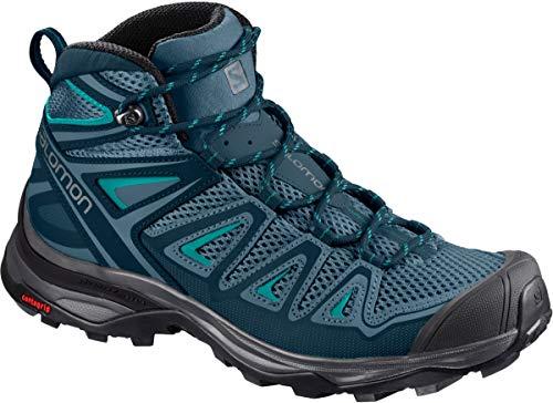 Salomon Women's X Ultra Mid 3 Aero Hiking Boots, Mallard Blue/Reflecting Pond/TROPICAL GREEN, 10