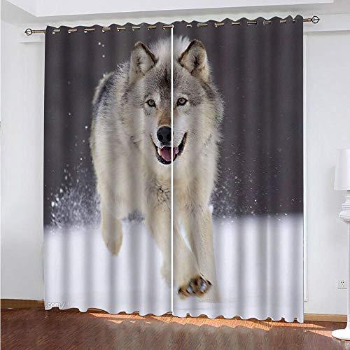 GXCBLK Cortinas Habitacion Impresión 3D Lobo De Nieve Animal Cortinas Opacas Termicas Aislantes Frío Y Calor Reduccion Ruido Proteccion Intimidad para Hogar, 2 Paneles 140X260 Cm(An X Al)