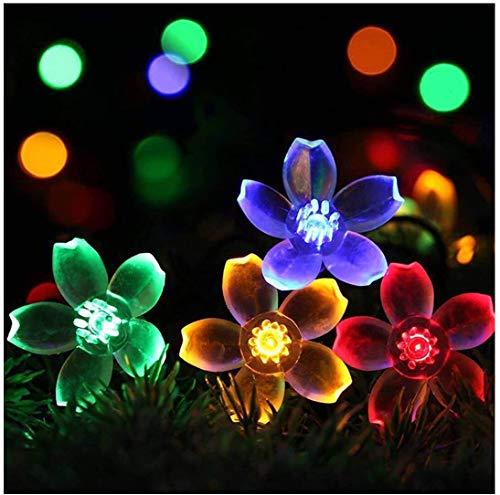 Solar Lichterkette außen, 50er 7M LED Blumen Lichterkette, 8 Modi IP65 Wasserdicht Mehrfarbig Lichterkette für Bäume, Weihnachten, Hochzeit, Party, Indoor und Outdoor (Blumen)