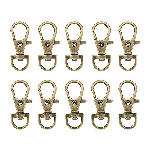 Craftdady 20Pcs Lanyard Snap Hook Swivel Clasps Antique Bronze Metal Trigger Clip Fastener Hook Lobster Clasps Nickel Free for Jewelry Making