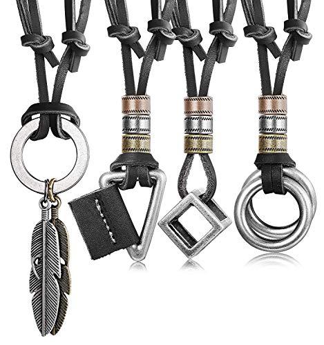 Finrezio 4 Piezas Collar De Cuero para Hombres, Mujeres, Colgante De La Vendimia, Collar De Cadena De Cubo De Plumas Ajustable Negro