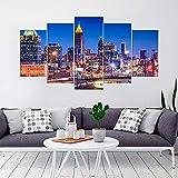 KOPASD 5 Piezas Ciudad de Noche de Arte de Pared impresión en Lienzo Paisaje Urbano del Horizonte de la Ciudad de Atlanta Arte Moderno para decoración del hogar