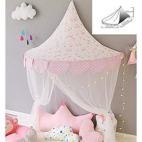 NanXi Princess Bett-Überdachung für Kinder, Kinderbett Moskitonetz Krippe Gazevorhang Zelt Halbrund Dom Leseecke Zelt-Raum-Dekor,Rosa