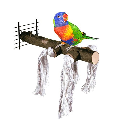 Bird Perch,Nature Wood Stand Toy Branch for Parrots Cages Toy (Bird Perch with Rope)