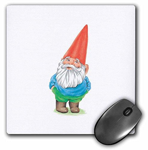 3dRose LLC 8 x 8 x 0.25 Inches Mouse Pad, Gnome Garden Gnome Cartoon Elf (mp_123988_1)