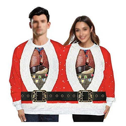 Kerst trui lelijke trui kerst koppels trui mode nieuwigheid samengevoegde tweelingen truien twee mensen top spoof ronde hals dubbele trui kerst blouse shirt voor mannen vrouwen, onesize
