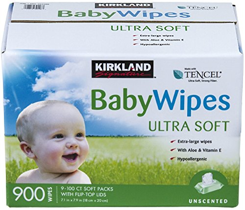 Kirkland Baby Wipes Unscented, 100 Count (Pack of 9)