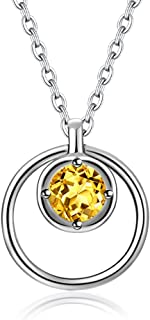 Necklace Jewelry S925 Silver Inlaid Natural Citrine Pendant Dream Catcher Necklace Women's Necklace Jewelry Gift Pendant N...
