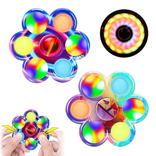 FIGROL LED Light Up Pop Fidget Spinner 2 Pack, Push Pop Bubble Light Fidget Spinner Toy, Pop Hand Spinner for Stress Relief, Party Favor Gifts for Children