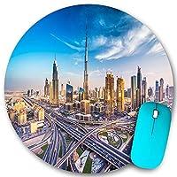 KAPANOU ラウンドマウスパッド カスタムマウスパッド、ドバイアラビアの街並み高層ビルの交通道路のパノラマビュー、PC ノートパソコン オフィス用 円形 デスクマット 、ズされたゲーミングマウスパッド 滑り止め 耐久性が 200mmx200mm