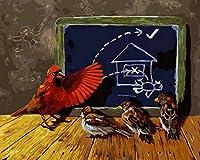 NC56 DIYペインティングデジタルアダルトビギナーキッズアダルトオイルペインティングキットキャンバスに3本のブラシでクリスマスハロウィーンデコレーション学習鳥40x50cm