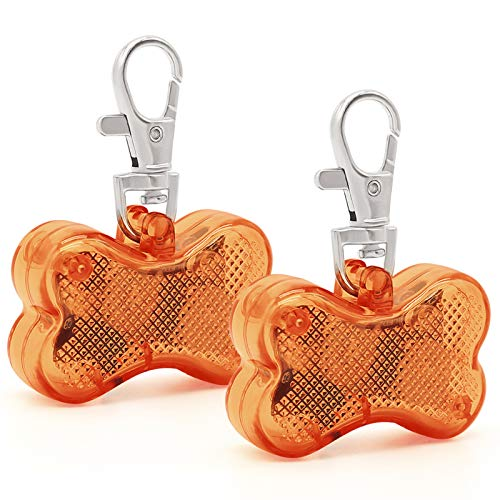 Pack of 2 PCS LED Dog Tags, Bone-Shape Clip-On Light Up Pet Pendants Glow in The Dark, Pet ID Tags Dog Safety Lights for Nighttime Dog Walking(Brown)