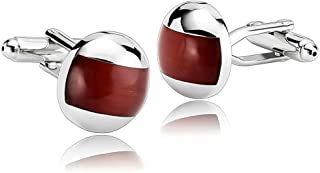 Men Stainless Steel Uniqued Design Crystal Ball Red Cufflinks Unique Business Wedding