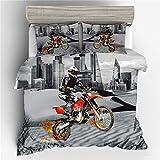 772 AQL Bettwäsche, 140 x 200 cm, 1 Bettbezug und 1 Kissenbezug, schwarz, 3D-Motorrad, bedruckt,...